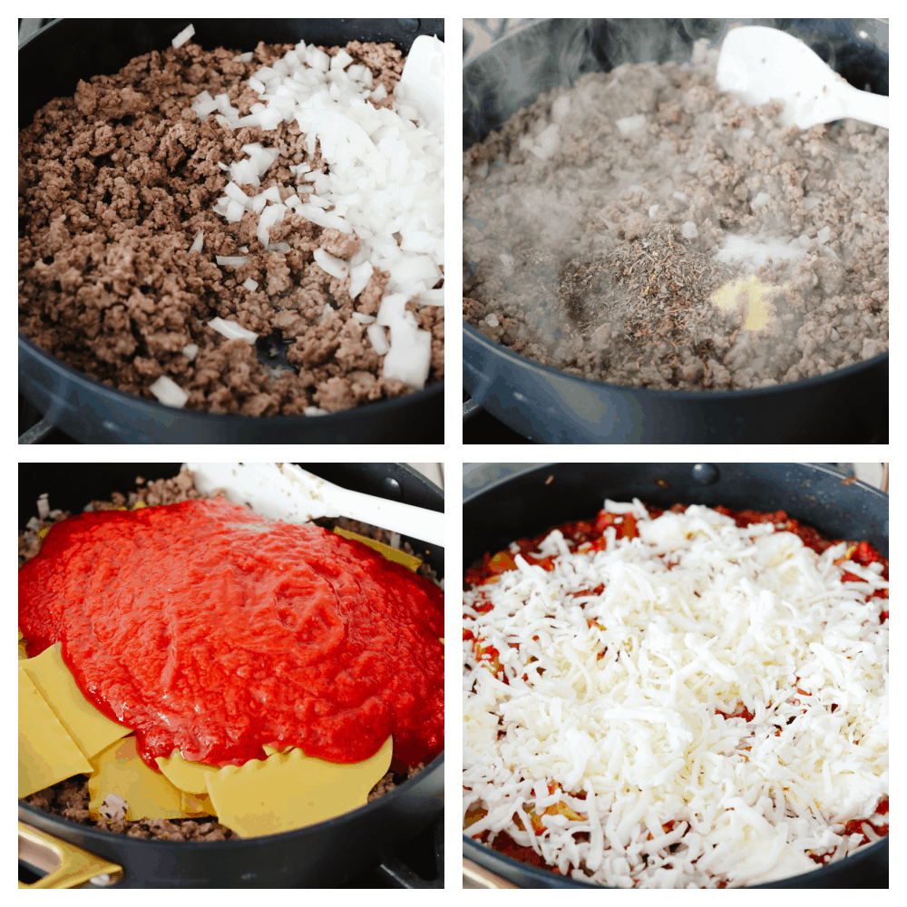 4 pictures showing how to cook meat, onions, pasta and sauce in a skillet.