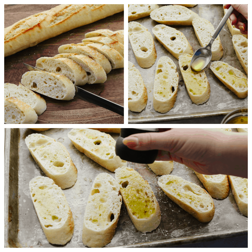 Process shots of adding olive oil and salt to baguette pieces.