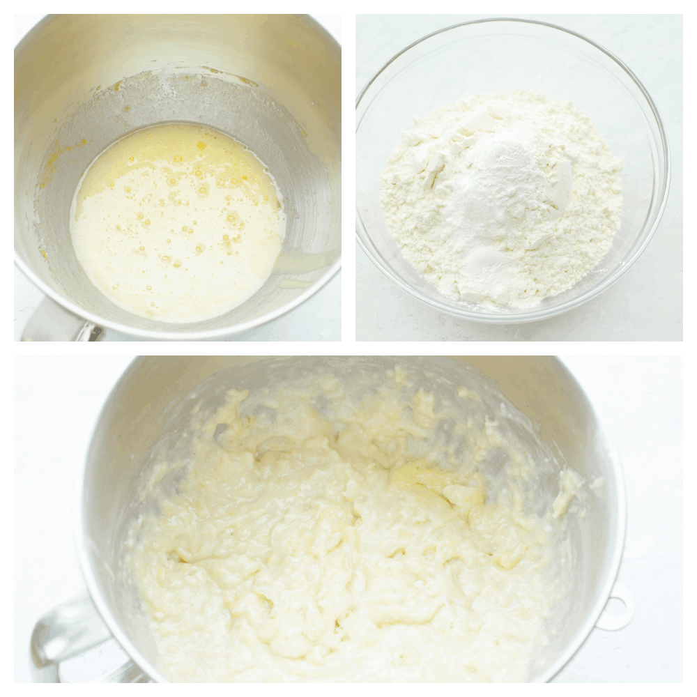 3 pictures showing how to mix up coconut banana bread batter.