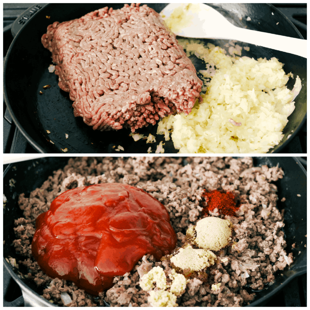 2 pictures showing how to cooking the meat and add in spices.