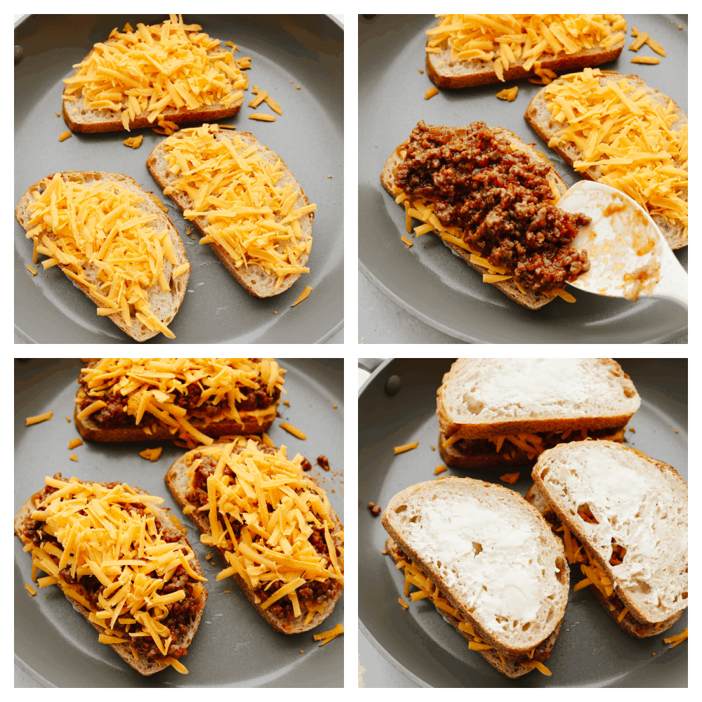 4 pictures showing how to cook a sloppy joe grilled cheese sandwich on a stovetop.