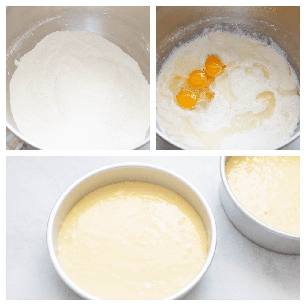 Mixing wet and dry ingredients together in three steps.