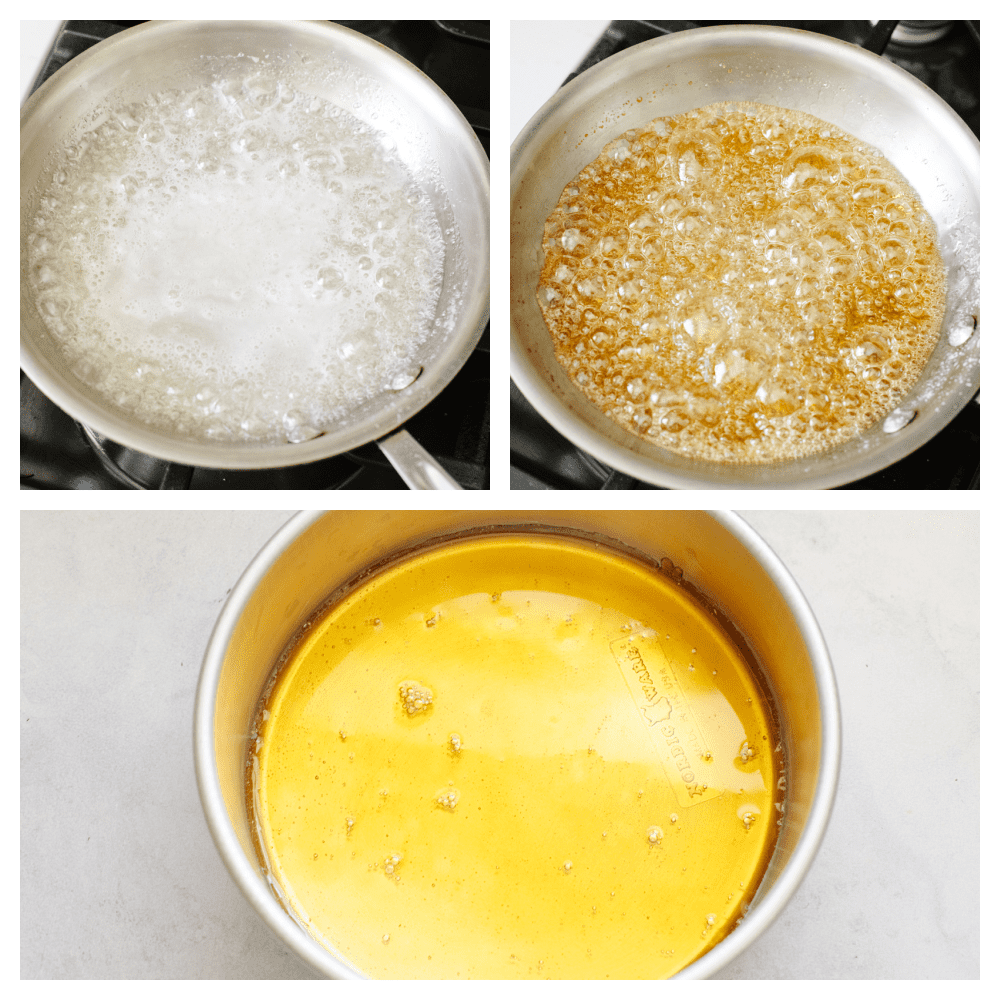 Steps to make flan in a skillet pan over gas oven.